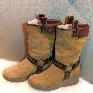 Cole Haan suede wedge boots